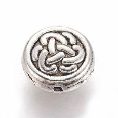 Fémgyöngy - antik ezüst - 10*4 mm