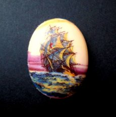 Porcelán kaboson - 40*30 mm - hajók 4#