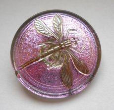 Kézzel festett cseh irizáló üveggomb - rózsaszín arany - szitakötő mintás