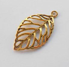 Leaf charm - 51*26 mm - antique gold