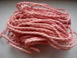 Braided leather cord 3mm - 0.5 m - pink