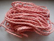 Fonott bőrszíj 3 mm -  50 cm - rózsaszín