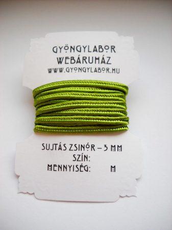 Sujtás zsinór - 3 mm - fényes - spenótzöld (#28)