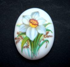 Porcelán kaboson - 40*30 mm - nárcisz