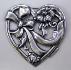Silver plated heart pendant - 36x36 mm - matte