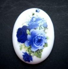 Porcelán kaboson - 40*30 mm - rózsák 4#