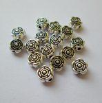 Fémgyöngy  - 6 mm - antik ezüst virág