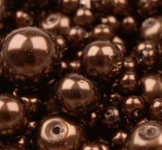Cseh üveg tekla gyöngy - 12 mm - 4 db/cs - kávébarna