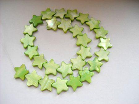 Gyöngykagyló csillag - limezöld - 16 mm