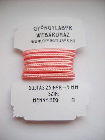 Sujtás zsinór - 3 mm - fényes - hamvas rózsa (#19)