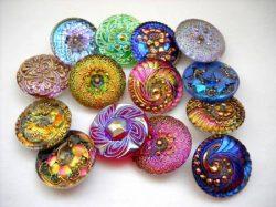 Czech handpainted glass buttons