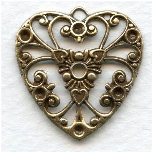 Ezüst virágos szív medál - 28x26 mm - 1 db