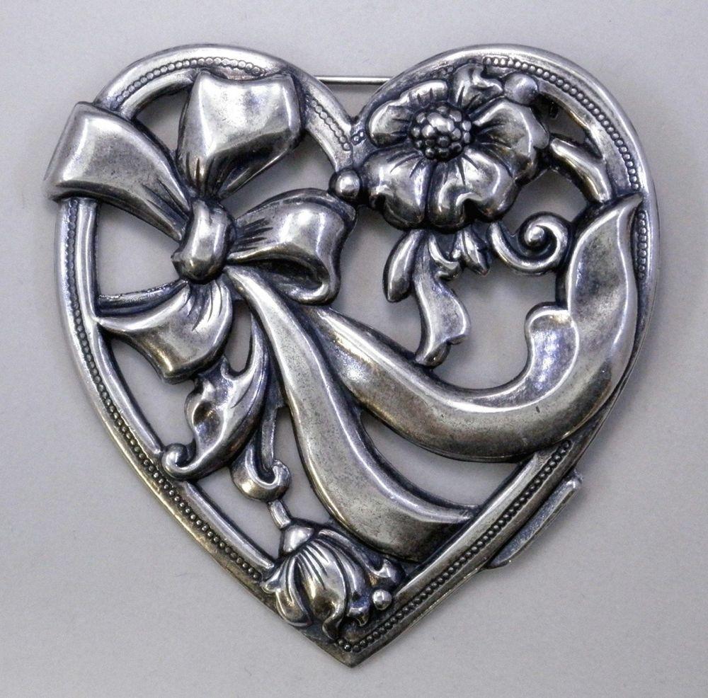 Ezüst virágos szív medál - 36x36 mm - platinum