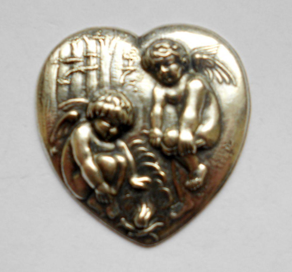 Ezüst szív veret - 50x48 mm - 1 db