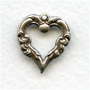 Ezüst szív veret - 20 x18 mm - 1 db